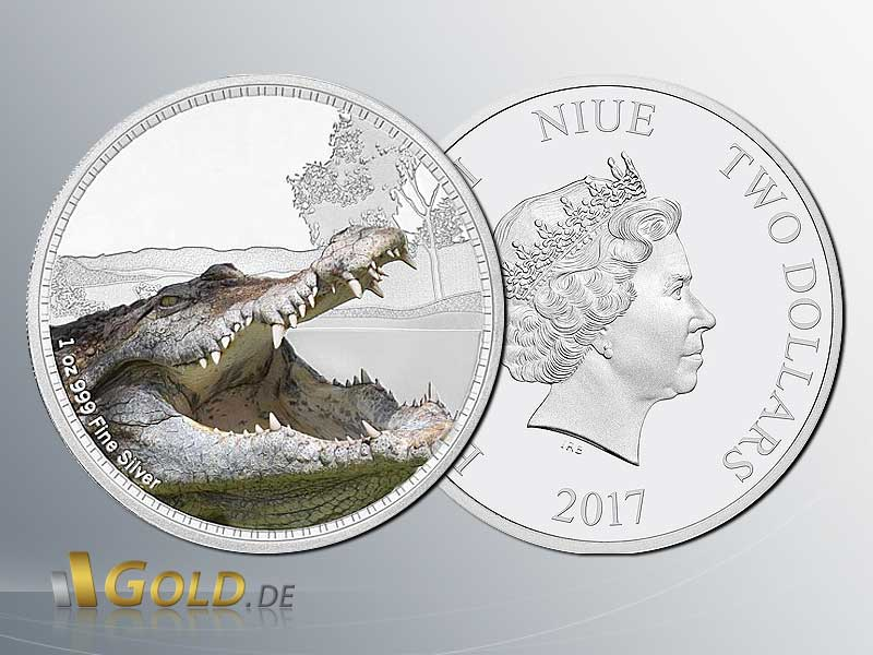 Kings Of The Continents 2017 - Saltwater Crocodile 1 oz Silbermünze