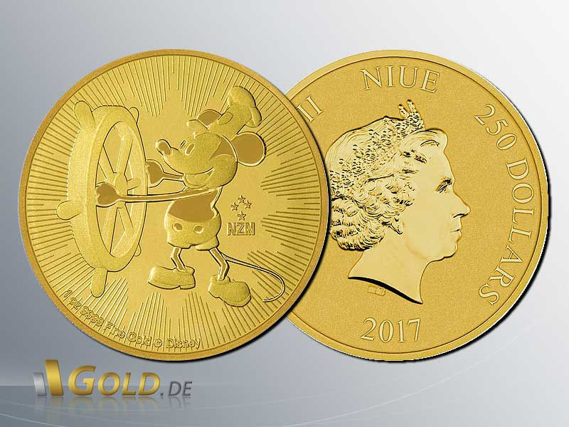 Disney Steamboat Willie 2017 - 1 oz Bullionmünze in Gold