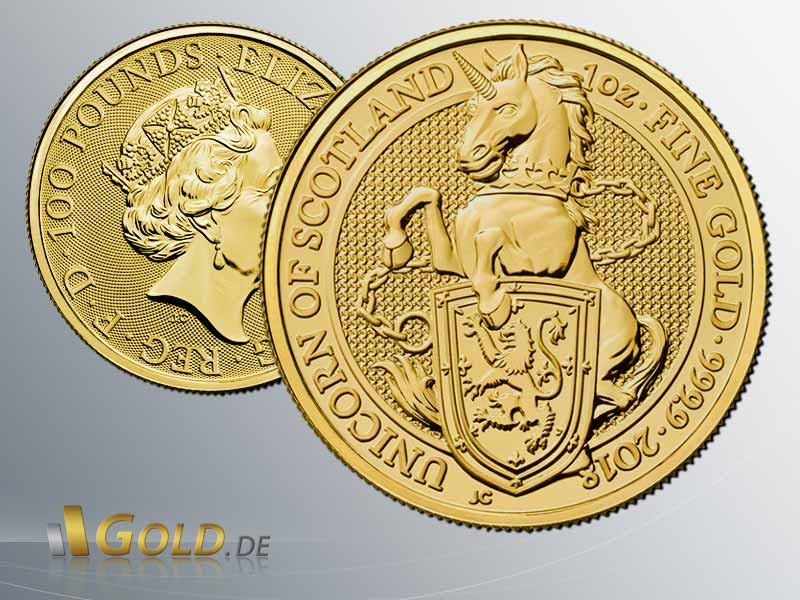 Wertseite und Motivseit der The Queen's Beasts: Unicorn of Scotland 2018 1 oz Goldmünze