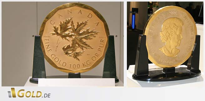 Big Maple Leaf 100 kg Goldmünze