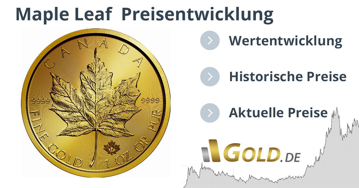 1 Oz Maple Leaf Gold Kurs Entwicklung Preis Und Historischer Wert