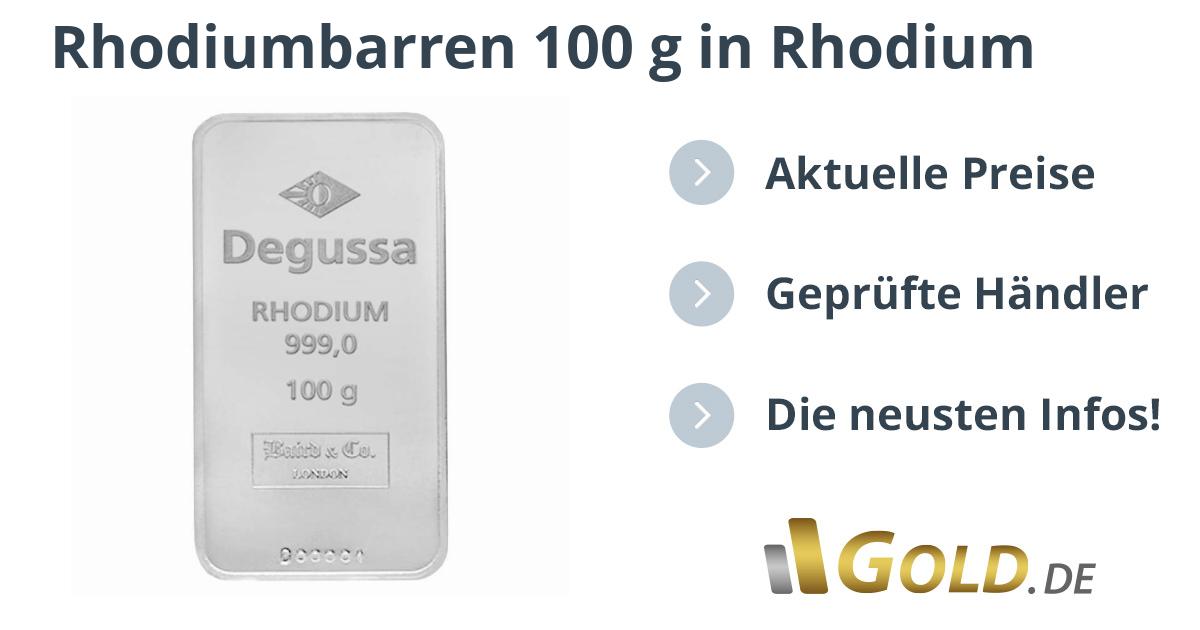 Rhodiumbarren 100 G Kaufen Goldde