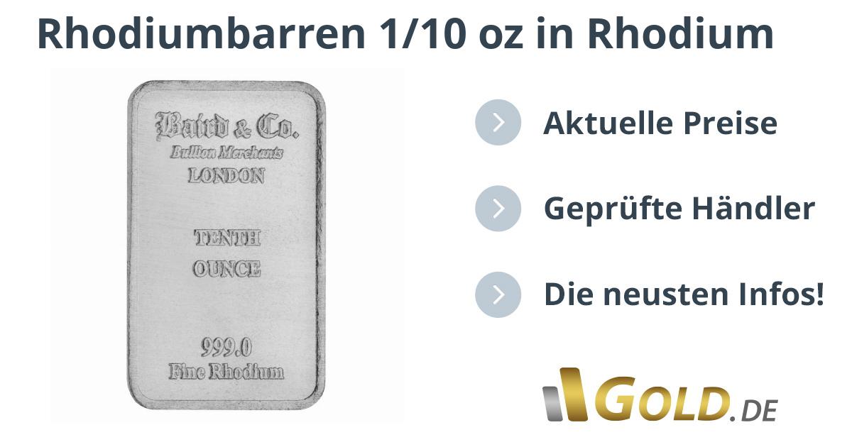 Rhodiumbarren 110 Oz Kaufen Goldde
