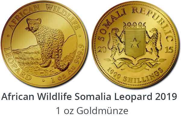 1 oz Goldmünze Somalia Leopard 2018