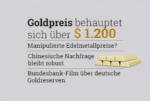 Goldpreis behauptet sich über 1200 Dollar