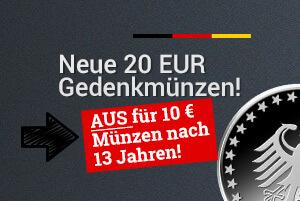Neue 20 Euro Gedenkmünzen: Aus für 10 Euro Gedenkmünzen ab 2016