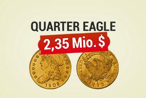 Seltene Goldmünze Quarter Eagle für 2,35 Mio. Dollar verkauft