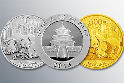 China Panda 2013 in Gold und Silber