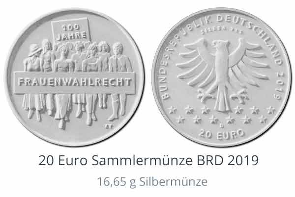 20-Euro-Sammlermünze 2019: 100 J. Frauenwahlrecht