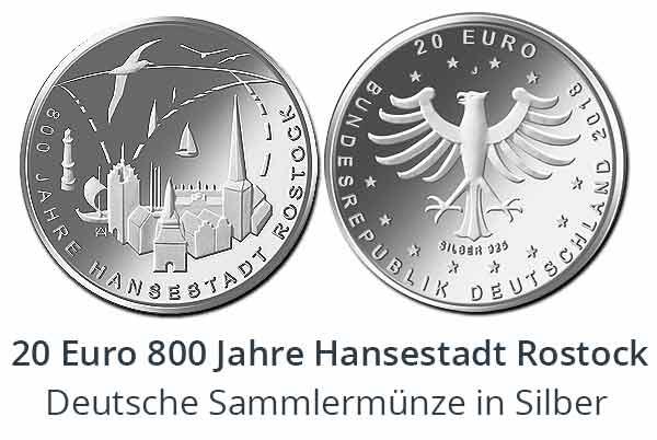 20 Euro Sammlermünze 2018 - 800 Jahre Hansestadt Rostock