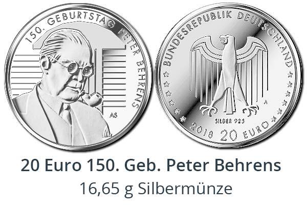 20 Euro Sammlermünze 2018 - 150. Geburtstag Peter Behrens