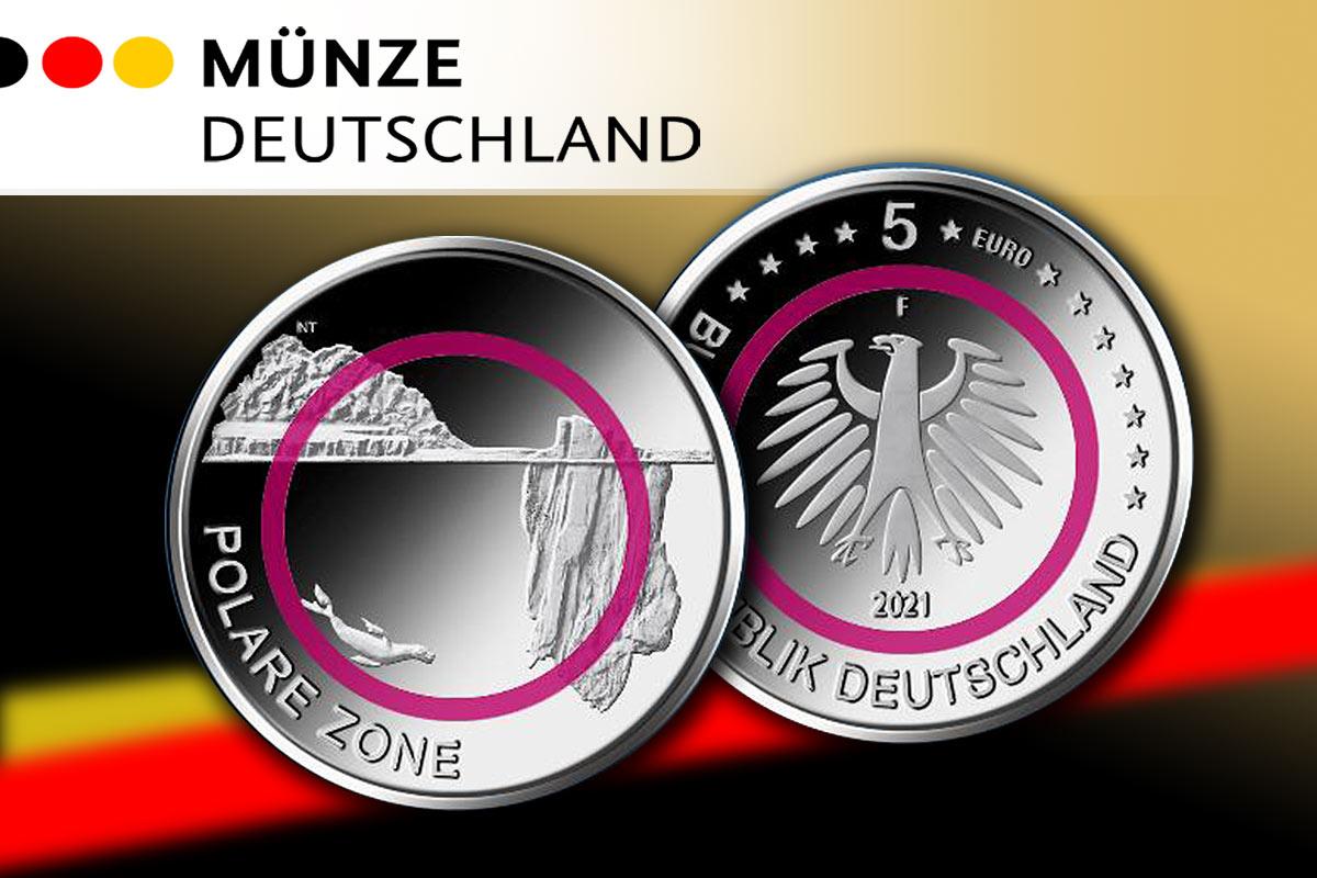 5 Euro-Münze Klimazonen der Erde 2021 - Polare Zone: Neues Motiv!
