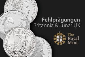 Fehlprägungen UK Lunar Pferd und Britannia von Royal Mint ausgeliefert