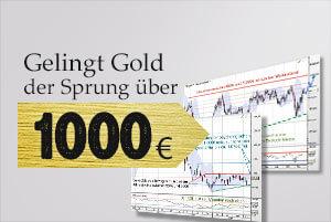 Gold in Euro: Gelingt der Sprung über die 1000 Euro?