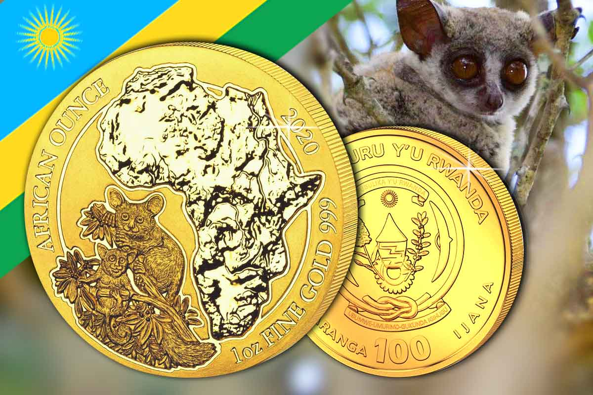 African Ounce 2020 Gold - Ruanda Bushbaby - Neues Motiv!