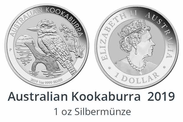 Australian Kookaburra 2019 in 1oz, 10 oz und 1 kg