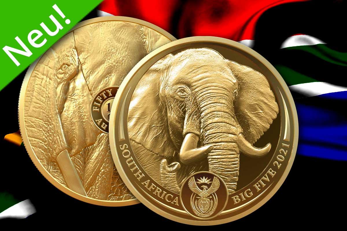 Big Five Serie II Gold – Elefant 2021 Proof