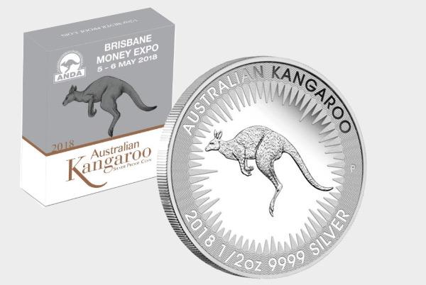 Brisbane Money Expo ANDA Kangaroo 2018 1/2oz Silber Proof