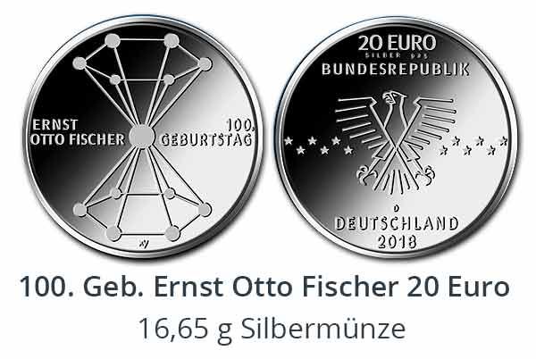 100. Geb. Ernst Otto Fischer 20 Euro Sammlermünze