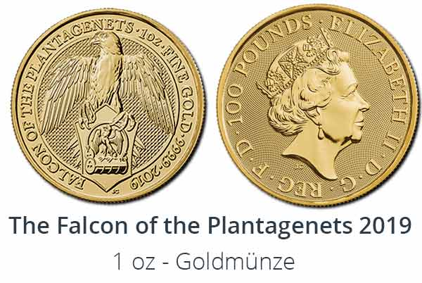 Falcon of the Plantagenets Gold Bullion - The Queens Beasts 2019