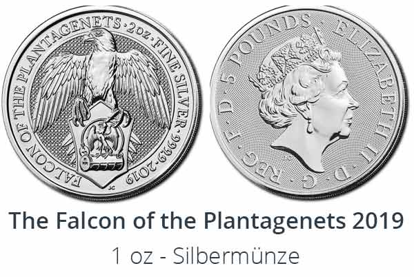 Falcon of the Plantagenets Bullion - The Queens Beasts  2019