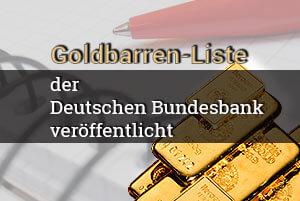 Goldbarren-Liste der Deutsche Bundesbank veröffentlicht