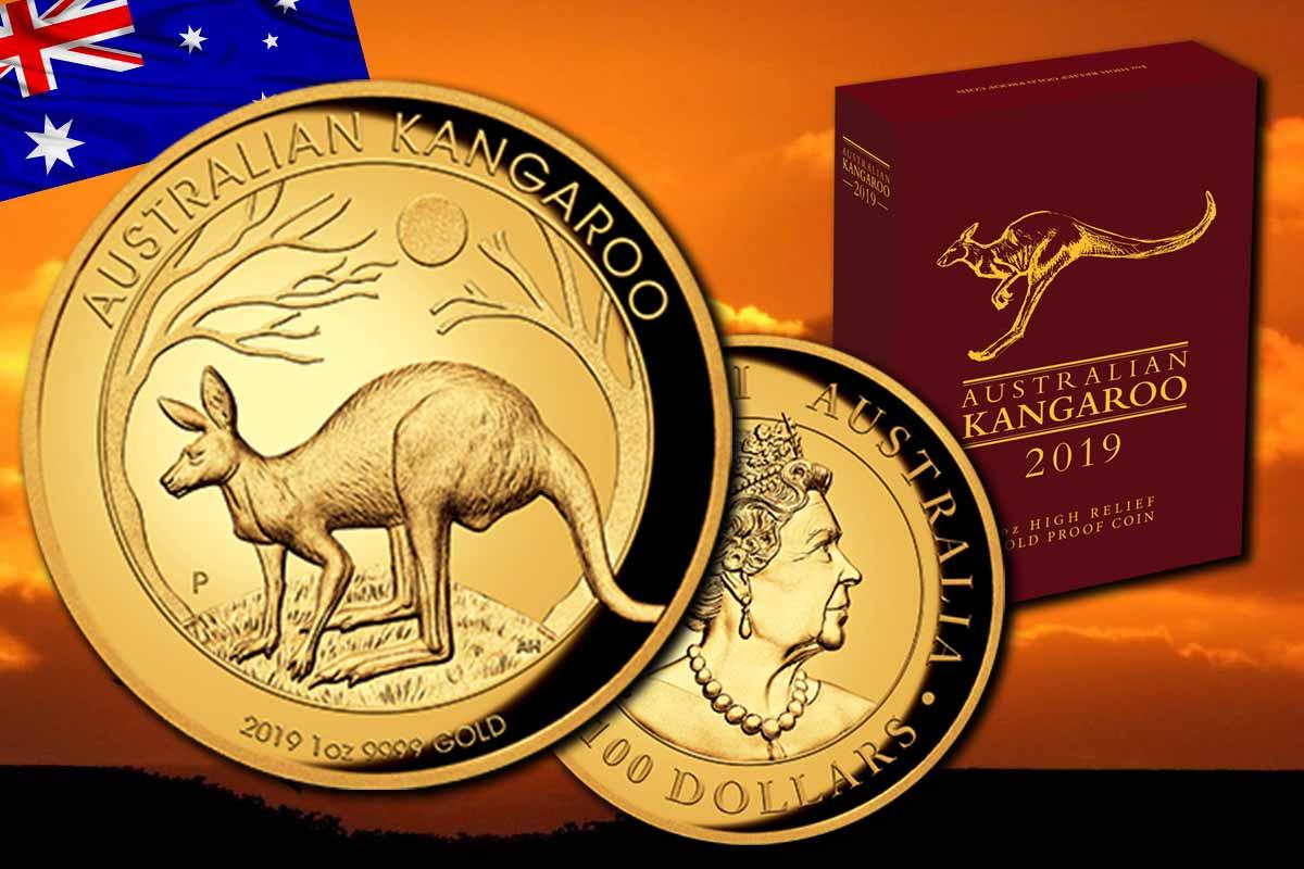 jetzt in Proof High Relief - Känguru Gold 2019