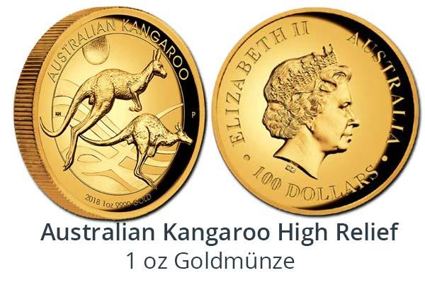Kangaroo Gold 1 oz High Relief 2018