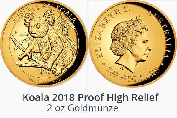 Australian Koala 2018 Goldmünze Proof High Relief