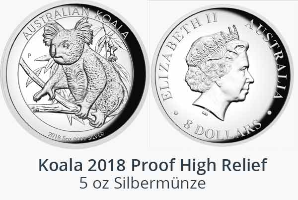 5 oz Koala Silbermünze Proof High Relief