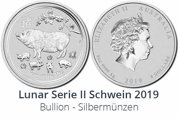Lunar II Schwein 2019 Silbermünze