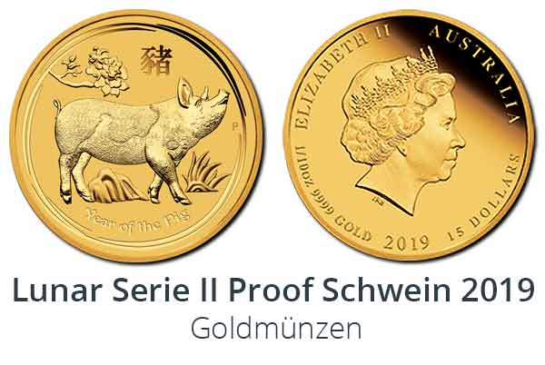 "Schwein 2019 ""Year of the Pig"" Proof Goldmünze"