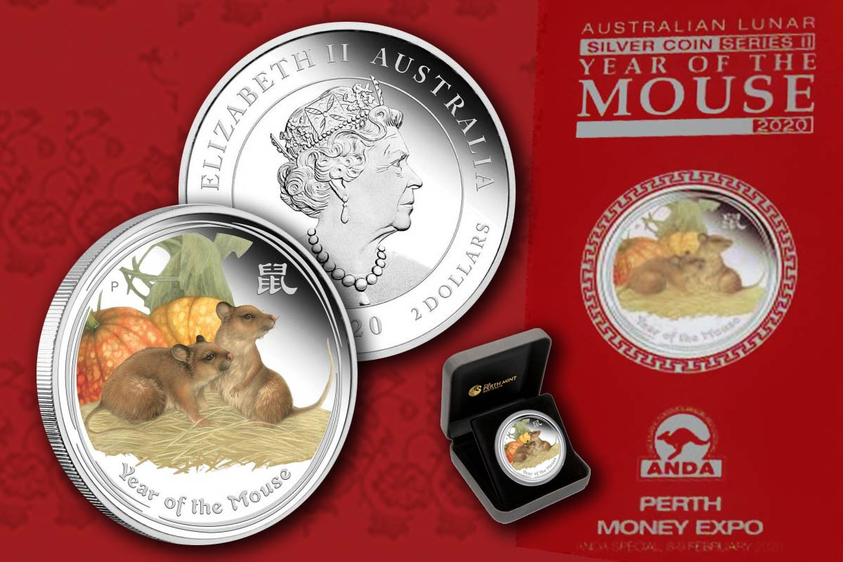 2020 Lunar II - Year of the Mouse Coin Show Special Proof-Coloriert