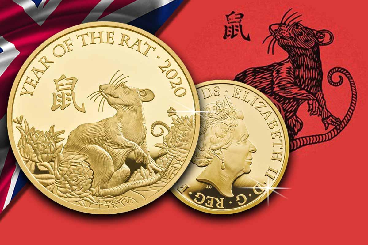 Lunar UK Year of the Rat 2020 Proof Gold - Neues Motiv