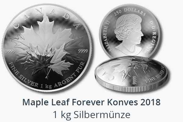 1 kg Silber Maple Leaf Forever konvex 2018