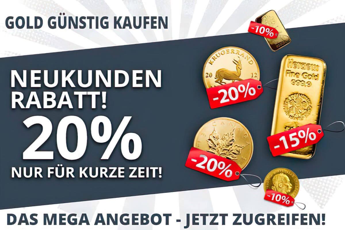 Gold günstig kaufen - hier 20 % Neukunden Rabatt!