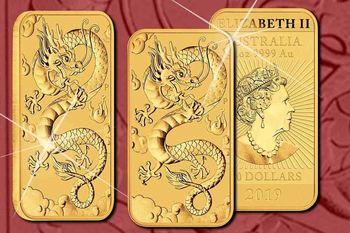 Münzbarren Dragon Rectangle Gold 2019 - hier erhältlich!