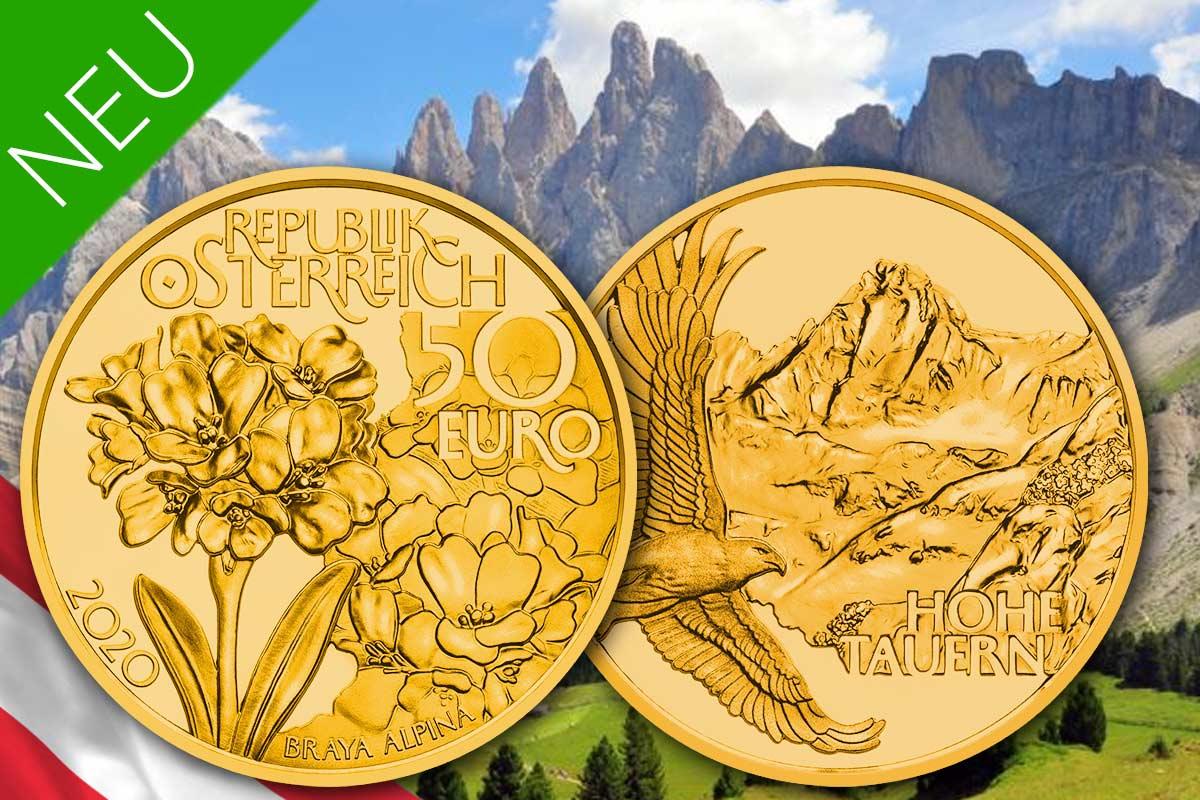 Naturschatz Alpen - Neue 50 Euro Goldmünzen Serie aus Österreich!