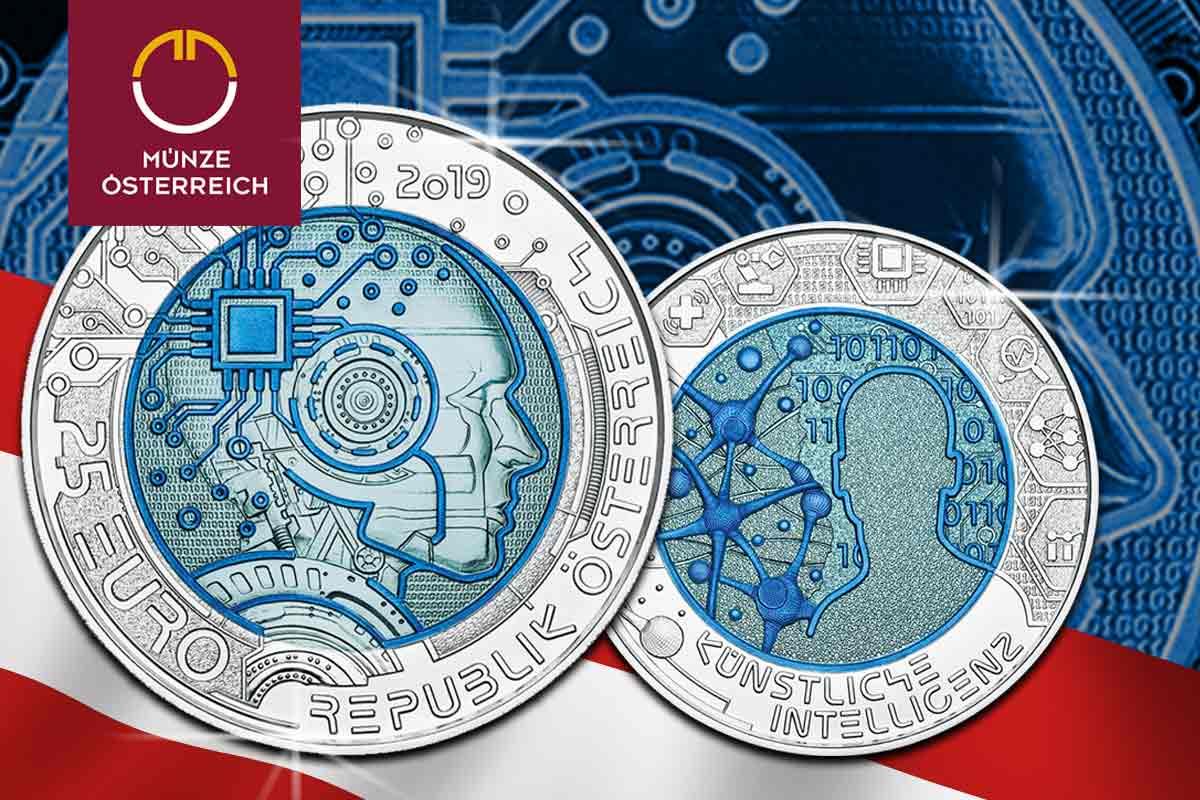 Österreich Niob Silbermünze 2019 - Künstliche Intelligenz - jetzt vergleichen