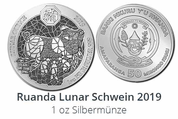 Ruanda Lunar Schwein 2019 Silber - Neues Motiv