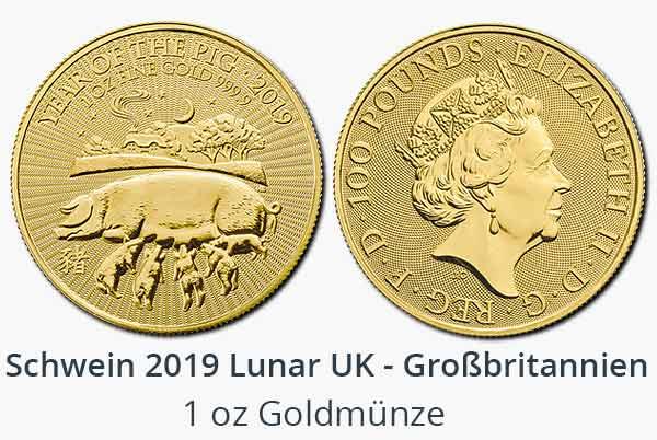 Lunar UK Schwein 2019 Gold aus Großbritannien