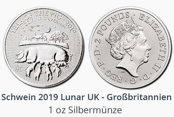 Year of the Pig 2019 Silber aus Großbritannien