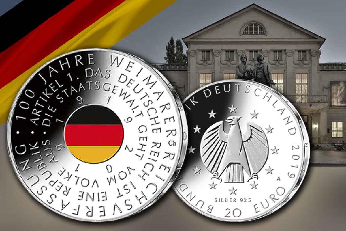20 Euro Weimarer Reichsverfassung in Silber und Farbe - Jetzt hier!