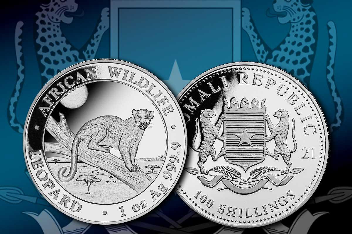 Somalia Leopard in Silber - jetzt Jahrgang 2021 erhältlich!
