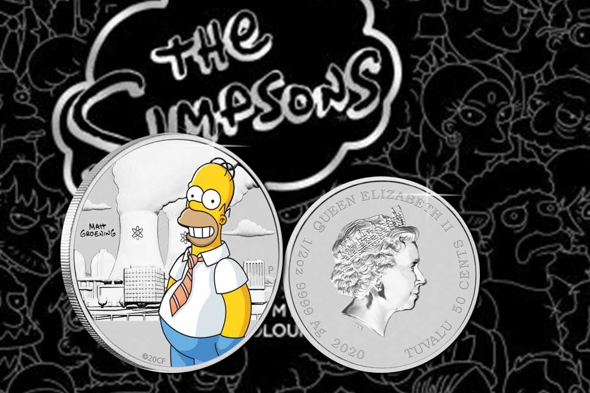 Homer Simpson 2020 1/2 oz Silber koloriert im Blister