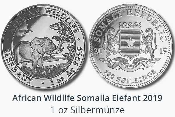 Somalia Elefant 2019 Silbermünze