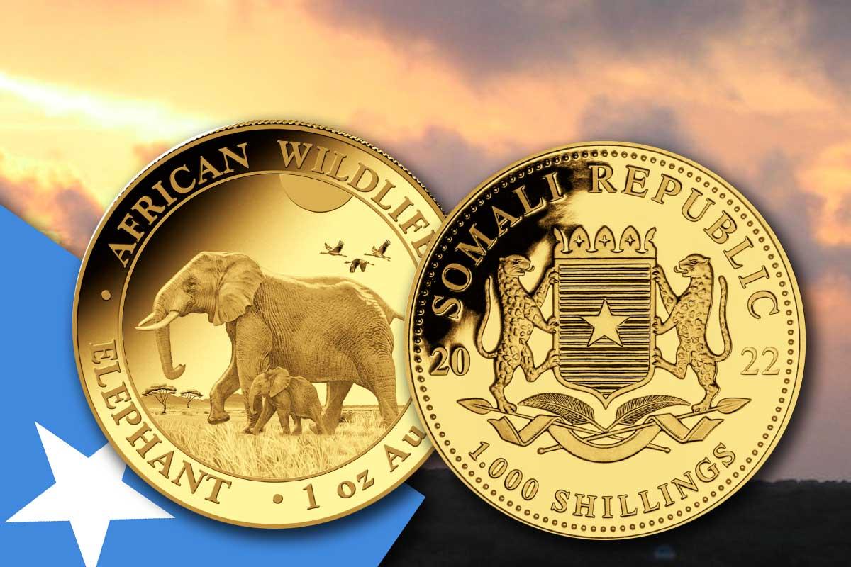 Somalia Elefant 2022 Gold mit neuem Motiv!