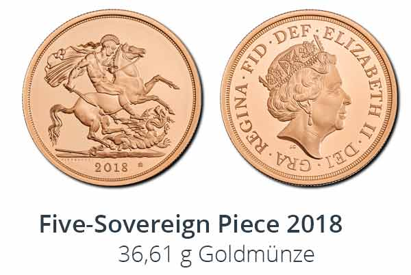 Five-Sovereign Piece 2018 Goldmünze in Brilliant Uncirculated