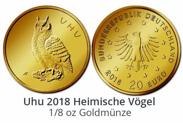 Uhu - Heimische Vögel - 20-Euro-Goldmünze 2018