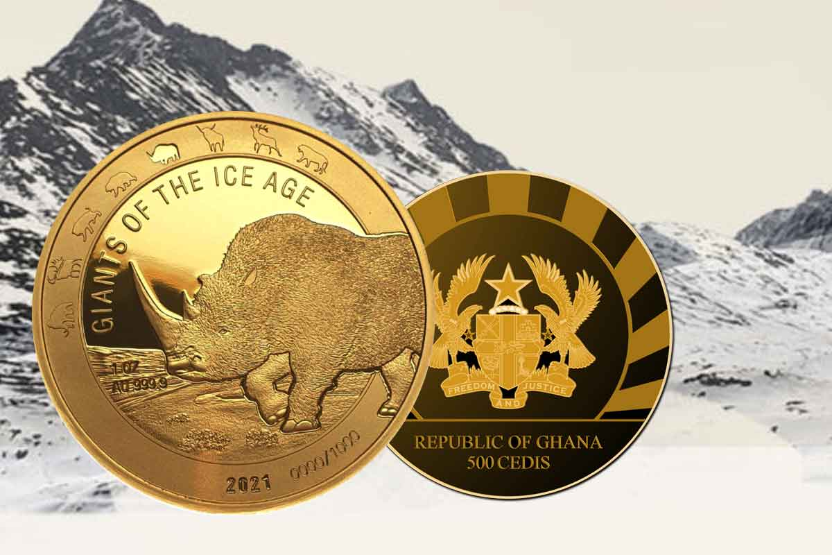 Wollnashorn 2021 in Gold - Giants of the Ice Age: Neues Motiv!